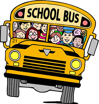 Cartoon school bus filled with happy students and a bus driver